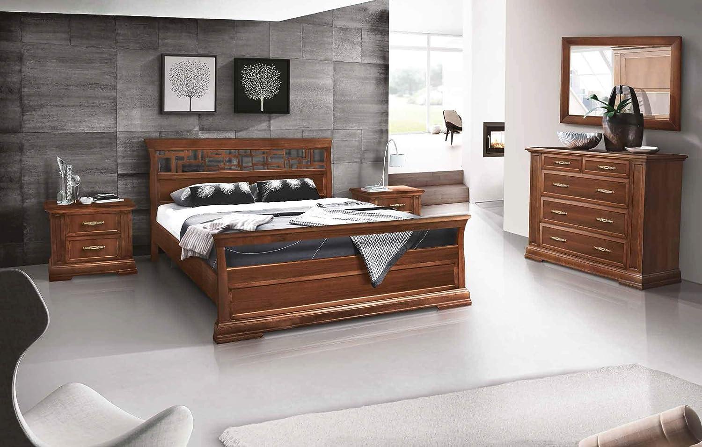 Dafne Italian Design Dormitorio Completo Nogal Clásico Cama De Matrimonio Armario Cómoda Y Dos Mesitas De Noche Tvg Amazon Es Hogar