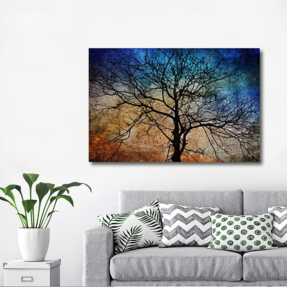 Canvas Wall Art - Black Tree Branches on Abstract Colorful Background - Gallery Wrap Modern Home Art | Ready to Hang - 32x48 inches