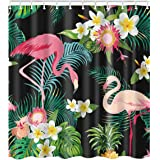 Tropical Fruit Decor Pineapple Palm Leaves Flowers Shower Curtain Suit With Non-slip Floor Mat Bath Rugs Green Easy To Lubricate multi14