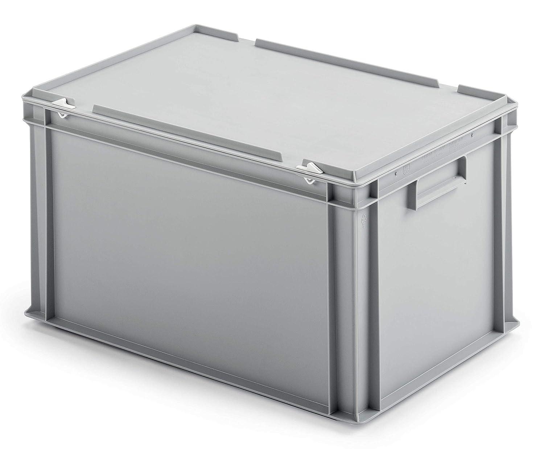 3 Stk. Ordner-Archivboxen für je 7 Ordner, mit Verschlussdeckel, staubsicher, stabiler Rippenboden, hellgrau, Made in Germany, 63 Liter