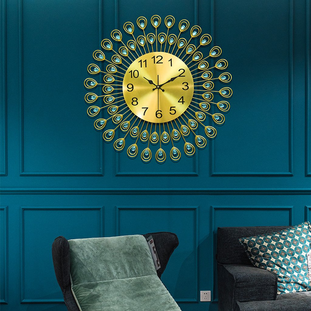 3次元の鉄の壁時計、Natood北欧の贅沢な孔雀のアクリルダイヤモンド、金とリビングルームの壁時計ミュートウォールクロックモデル、電池なしで,60Cm B07D7R9CN960cm