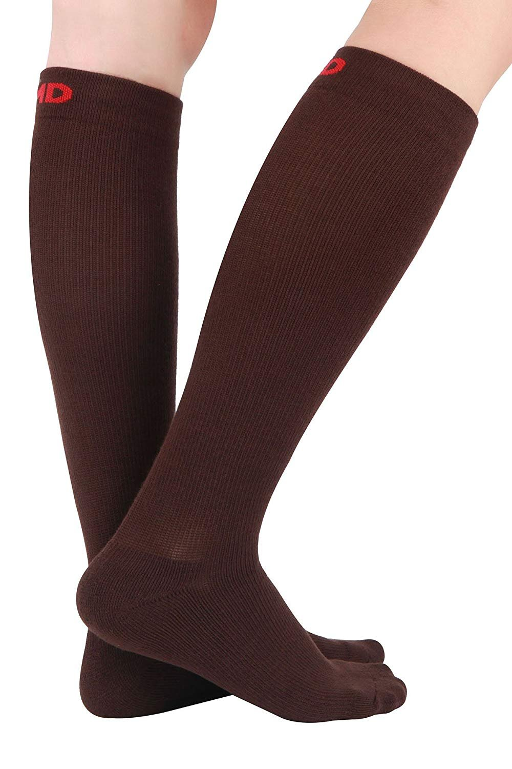 MD 3 Pairs Thick Unisex Moisture Wicking Bamboo Travel Compression Socks 8-15mmHg 13-15 Brown