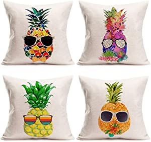 Smilyard Pineapple Pillow Covers 18x18 Inch Set of 4 Summer Watercolor Pineapple Wears Glasses Pattern Pillows Decorative Cushion Cover Cotton Linen Tropical Fruit Pillow Case Decor (Pineapple Set)