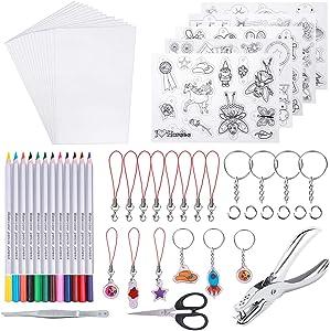 shynek Heat Shrinky Sheets, 125Pcs Heat Shrink Plastic Sheet Kit Including 20 Pcs Shrinky Paper, Hole Punch, Pencils, Keychains, Pencils, Tweezers, Scissors for Crafts and Keychains