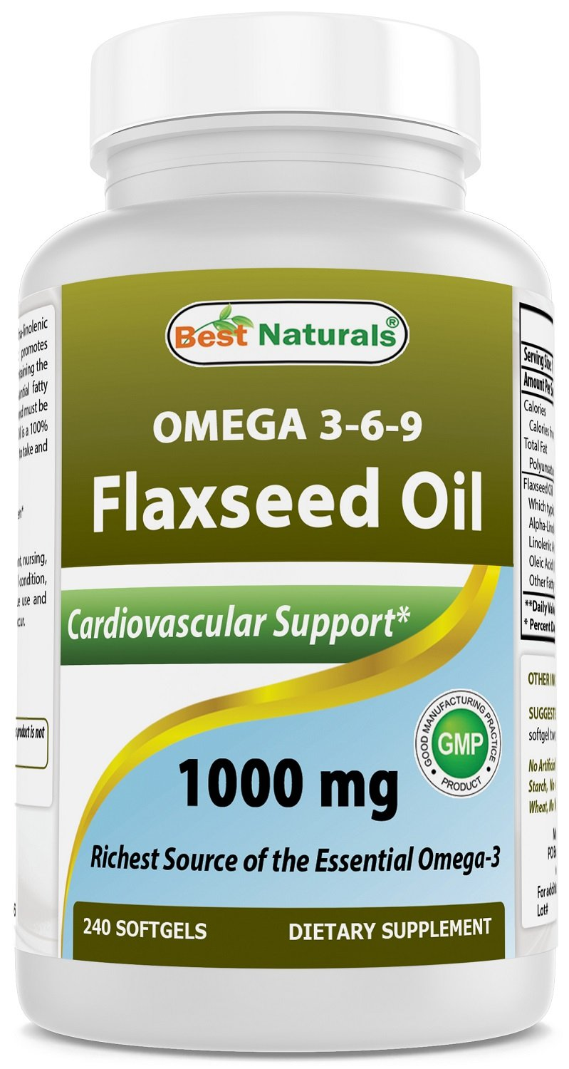 Best Naturals Flaxseed Oil 1000 mg 240 Softgels - Omega-3-6-9 for Heart Health by Best Naturals