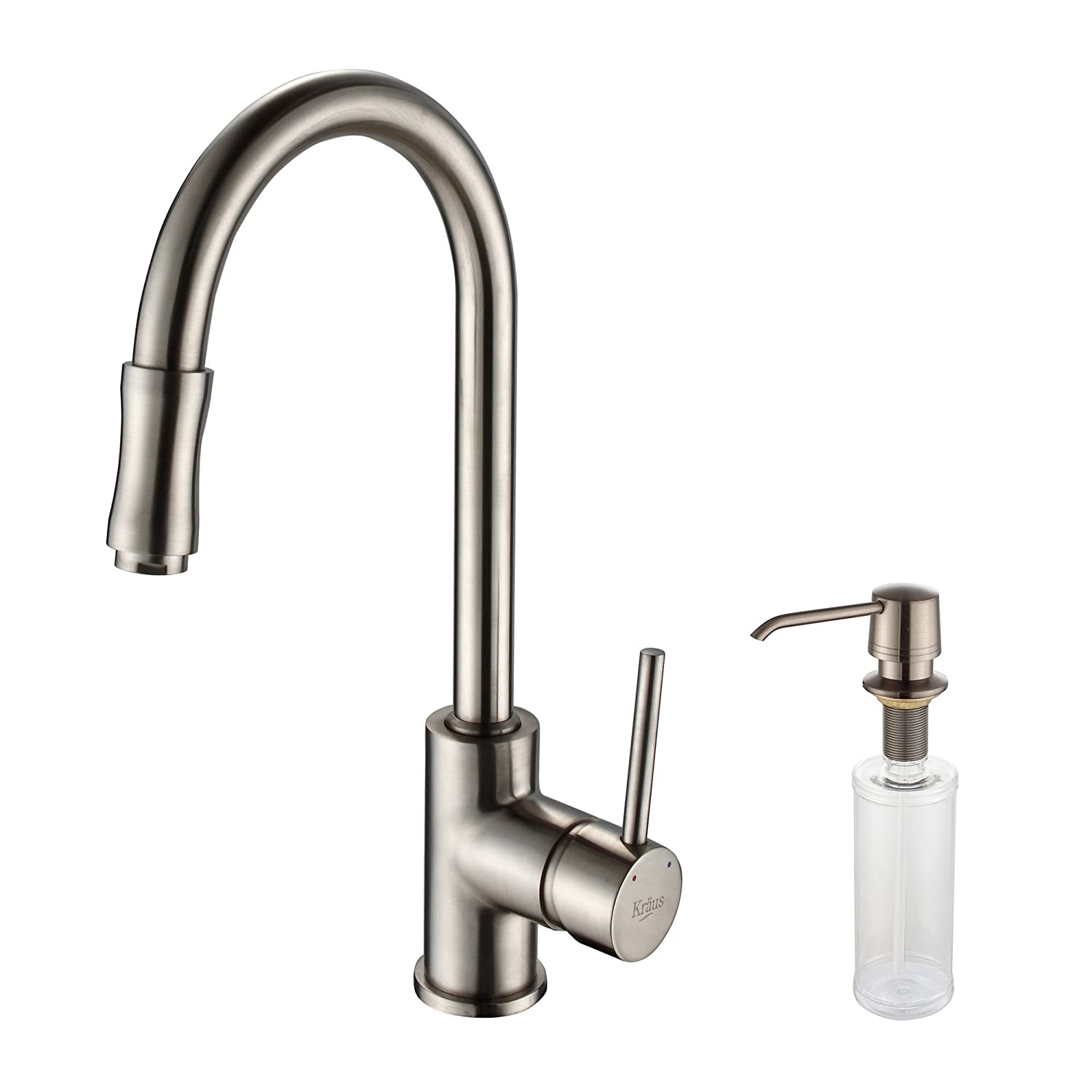 kraus kpf 1622 ksd 30sn single lever pull down kitchen faucet and