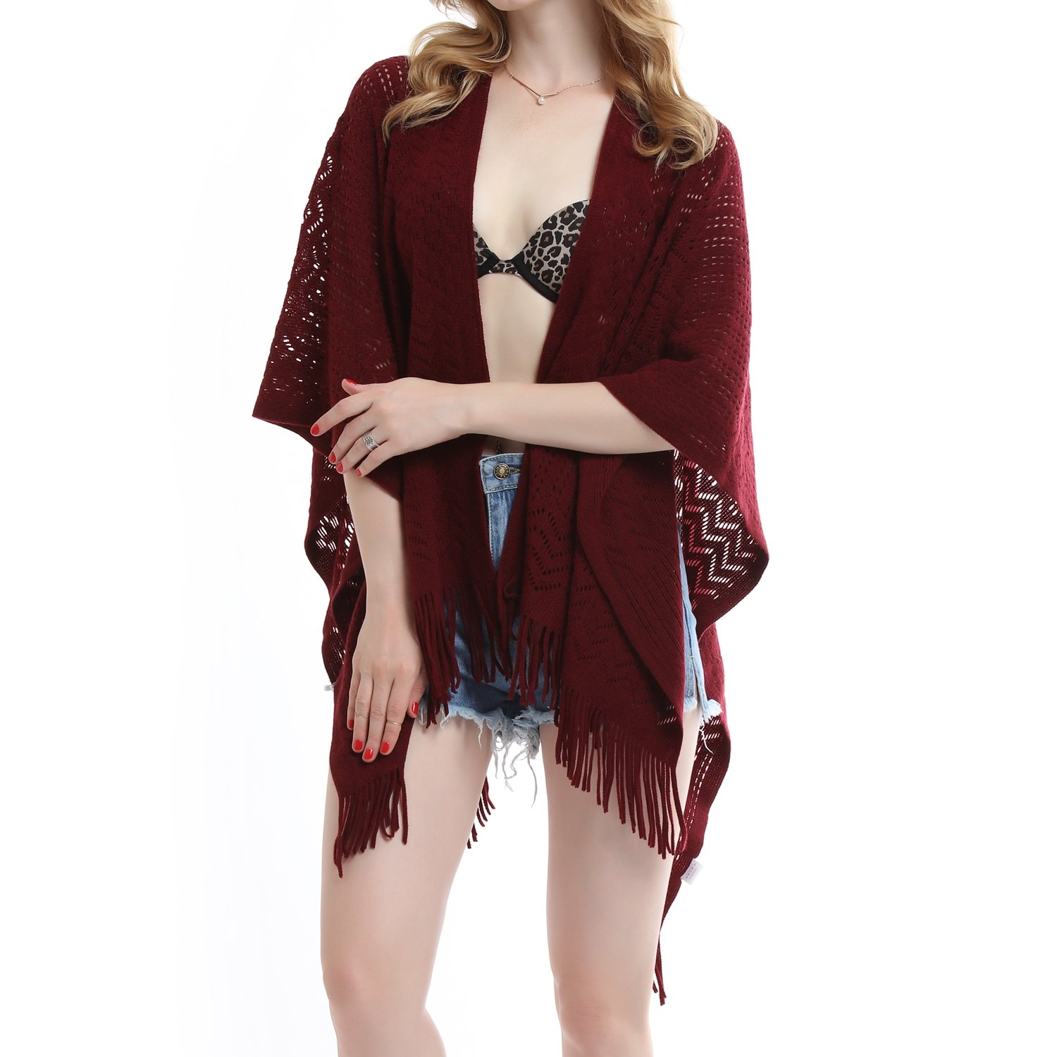 f767b79a36 soul young Knit Shawl Wrap for Women Ladies Fringe Knitted Poncho Cardigan  Cape product image