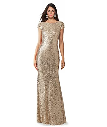 b38ecaa8f5c SUMINTRAS Cap Sleeves Crew Neckline Mid Back Floor Length Sequins Prom  Formal Evening Gown Dress at Amazon Women s Clothing store
