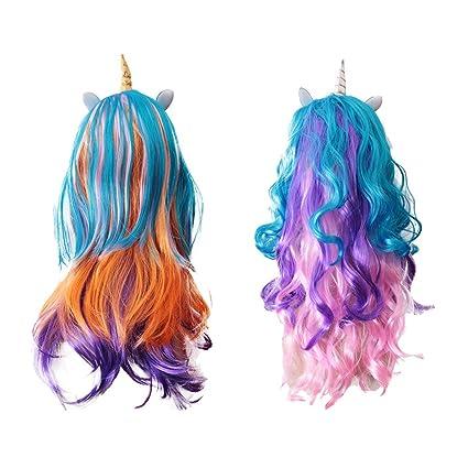 Sharplace Peluca de Unicornio para Pelo Fiesta para Haloween Traje para Mujeres de Plástico Multicolor