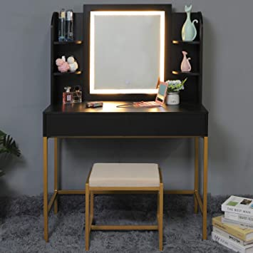 Usikey Vanity Table Set With Lighted Mirror Makeup Table With 4 Storage Shelves 2 Drawers Dressing Vanity Tables With Cushioned Stool Dresser Desk For Girls Women Black Furniture Decor