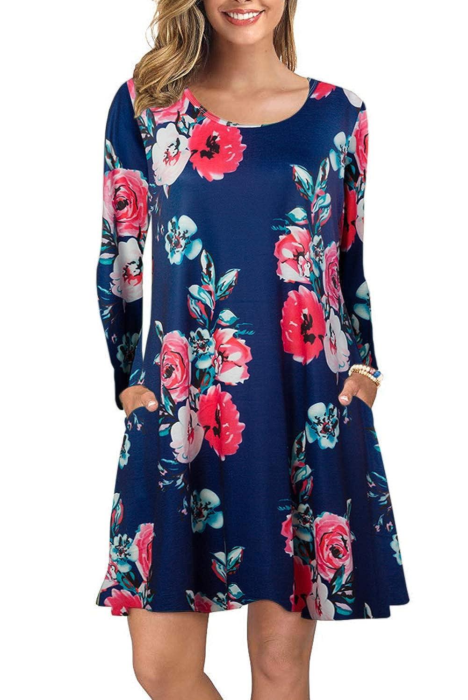 Damen Tshirt Kleid Casual A-Linie Skaterkleid Blumenkleid Einfaches Floral Minikleid Kleider Damen Lose Rundhals Langarm Freizeit Cocktail Strassenmode mit Taschen