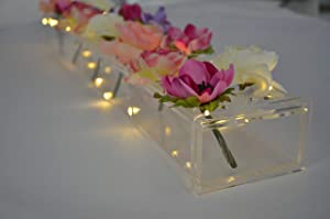 Rectangular Floral Centerpiece for Dining Table - 24 Inches Long Rectangle Vase - Acrylic Modern Vase - Low Laying Unique Flower Vases for Home Decor or Weddings (LED Clear)