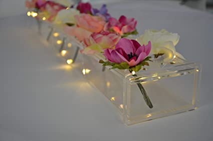 Rectangular Floral Centerpiece For Dining Table 24 Inches Long Rectangle Vase Acrylic Modern Vase Low Laying Unique Flower Vases For Home Decor Or Weddings Led Clear Amazon Co Uk Kitchen Home