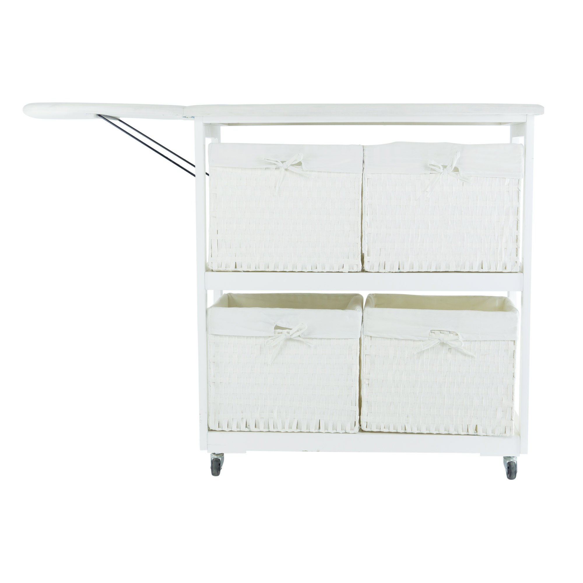 SpaceMaster™ Corner Housewares Oversized Rolling Foldable Ironing Board with Caster Wheels, 4 Woven Baskets, White by SpaceMasterTM (Image #2)