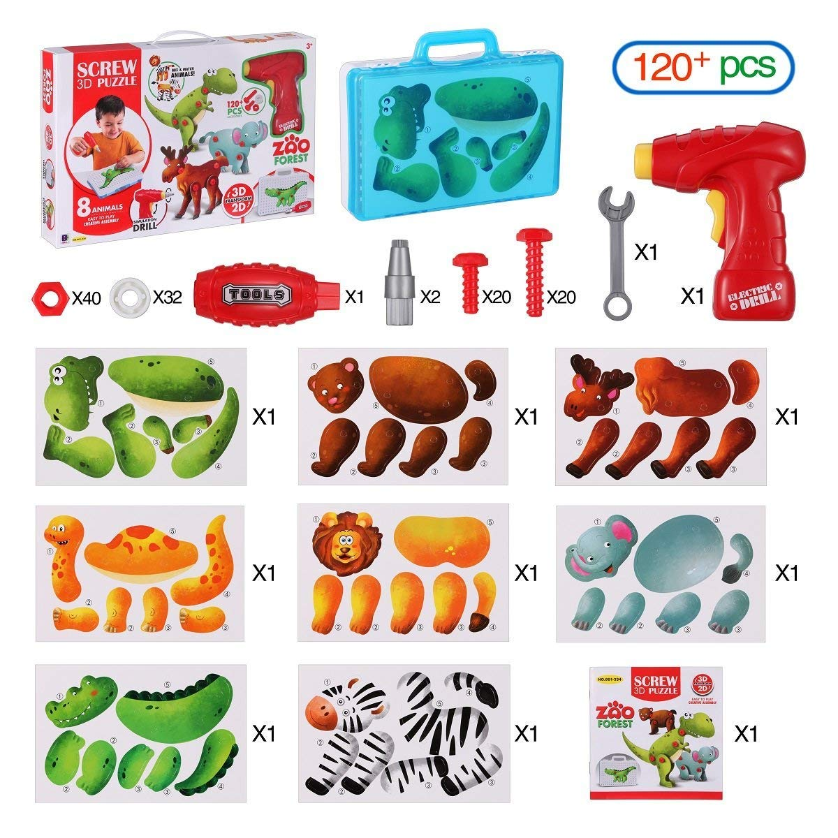 3D Building Puzzles with Drill Screws Tools, 8 Different Animals Creative Construction Kit Take Apart Toy, Best Learning Educational Toys for Kids 3-12 Years Old