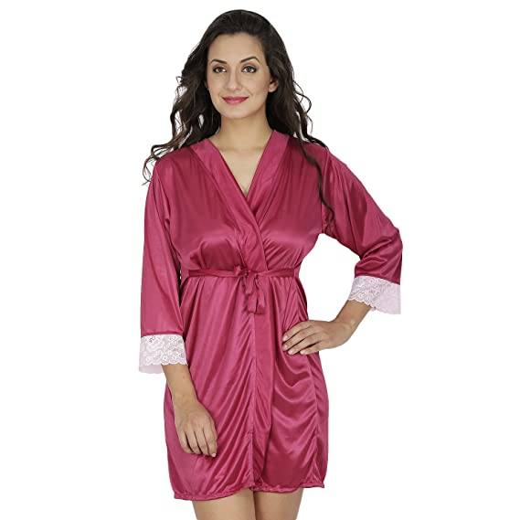 abd2db61d1d4 Klamotten Women s Robe with Lace (X209 WineFree Size) Wine  Amazon ...
