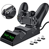 PS4 Controller Charger, BEBONCOOL PS4 Charger with USB PS4 Accessory Kits, PS4 Charging Dock for Sony PS4/PS4 Slim/PS4 Pro Controllers with 4 Micro USB Charging Dongles