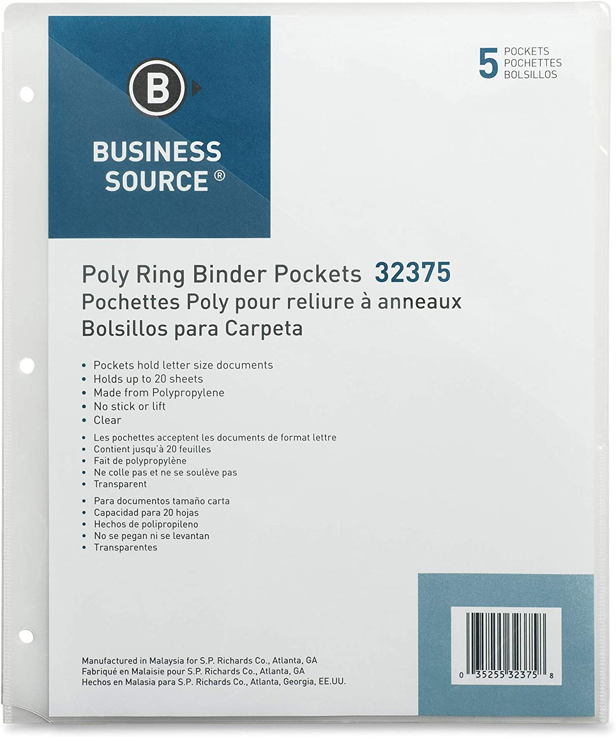 32375 Pack of 5 Clear Business Source Binder Pockets