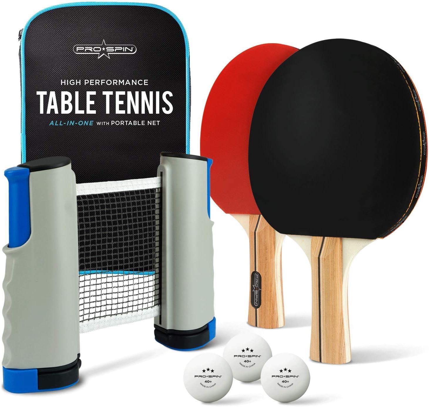 PRO SPIN - Juego de ping pong portátil para cualquier mesa, 2 palas de ping pong, 3 bolas blancas de 3 estrellas, caja de almacenamiento premium | Juego de tenis de mesa de calidad con red retráctil