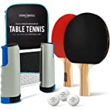 ALL-IN-ONE Ping Pong Paddle Set - Includes PLAY ANYWHERE Ping Pong Net for ANY Table, 2 Paddles/Rackets, 3 Pro Balls…