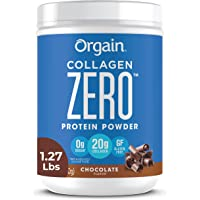 Orgain Grass Fed Hydrolyzed Collagen Peptides Zero Protein Powder - Chocolate Flavor, 0g Sugar, Pasture raised, Dairy Free, Soy Free, Gluten Free, Non-GMO, Type I and III, 1.27 lbs