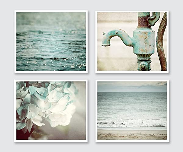 Teal Bathroom Decor Set of 4 Photographs - Beach and Rustic - Discount -  Art for