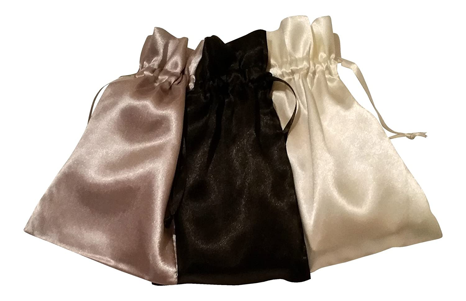 Tarot Bags: Neutral Colors Satin Bundle of 3: Black Pewter and Ivory (5