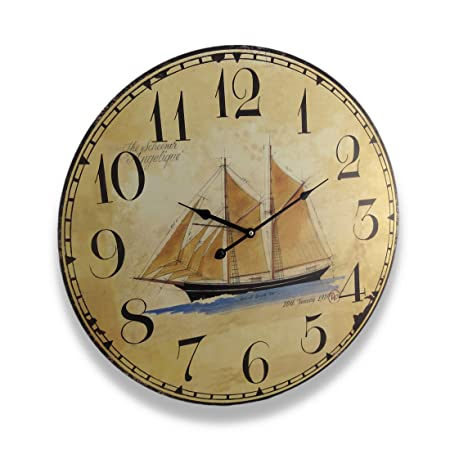 Things2die4 Wood Wall Clocks Mc-179 Nautical Sailing Schooner Wall Clock Antique Finish 22.5 In. 22.5 X 22.5 X 1 Inches Off-White