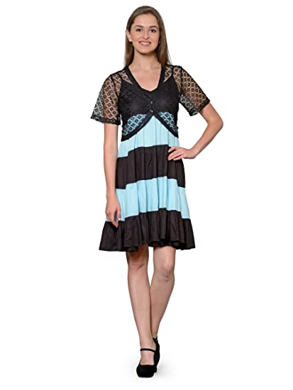 92b687a1ac0ead Patrorna Ocean Blue and Black Flared Designer Dresses for Women and Girls  with Black Shrug  Amazon.in  Clothing   Accessories