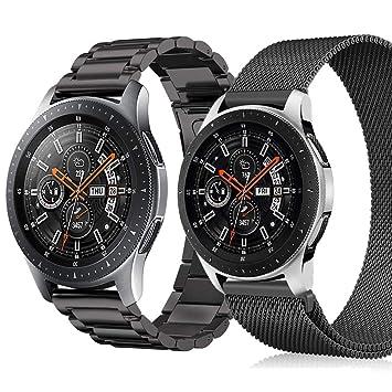 Miimall Correa de Reloj de Acero Inoxidable para Samsung Gear S3 Frontier/Classic Smartwatch