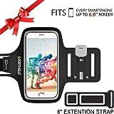 Fascia Da Braccio Sportiva Porta Scheda per iPhone 7 Plus 6 Plus 6S Plus,PORTHOLIC Galaxy S8/S7/S6 edge,Note 3/4/5/6 LG g6/5 Huawei Bq One Plus Sony Nexus HTC con Resistente all'Acqua, Portachiavi, Comparto Cavo, fino a 6.0 Pollici (Nero+)