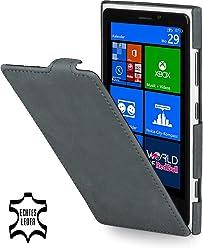 StilGut Ultraslim, housse exclusive de cuir véritable pour le Nokia Lumia 920, old style gris