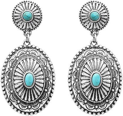 Turquoise Concho Earrings