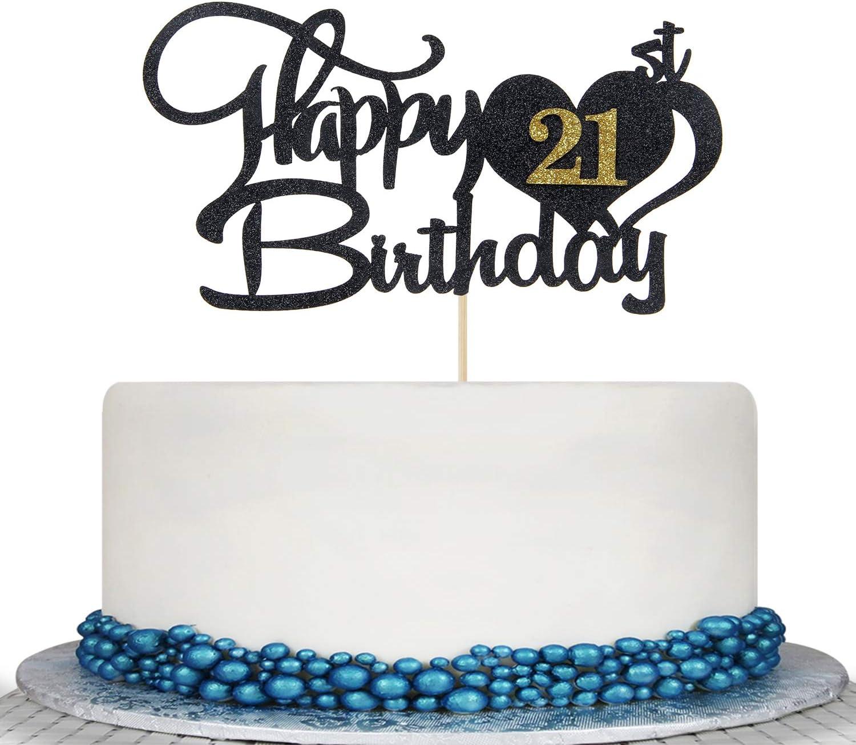 Amazon Com Glitter Black Happy 21st Birthday Cake Topper 21st Birthday Wedding Anniversary Cake Topper Party Decoration Supply Ideas Toys Games