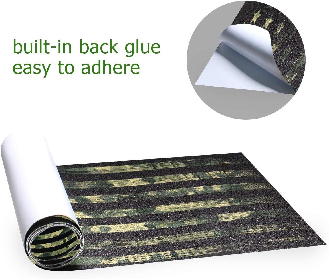 American Flag Green Camo Sandpaper for Rollerboard Longboard Griptape Bubble Free Scooter Grip Tape Skateboard Grip Tape Sheet 33 X 9 Inch