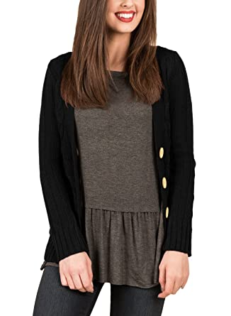 ec6a39ab66c4 Ecosunny Womens Chunky Cardigan Long Sleeves Button V Neck Pockets Cable  Knit Sweater at Amazon Women s Clothing store