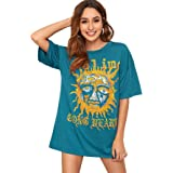 Milumia Women Tie Dye Tee Shirts Casual Loose Fit Short Sleeves Round Neck Tops