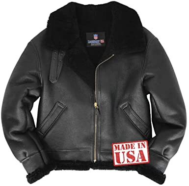 Amazon.com  Genuine Black Sheepskin (Shearling) B-3 Bomber Jacket Made in  USA  Clothing 39dc9a929