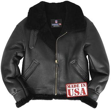 ab801e35e7 Amazon.com  Genuine Black Sheepskin (Shearling) B-3 Bomber Jacket Made in  USA  Clothing