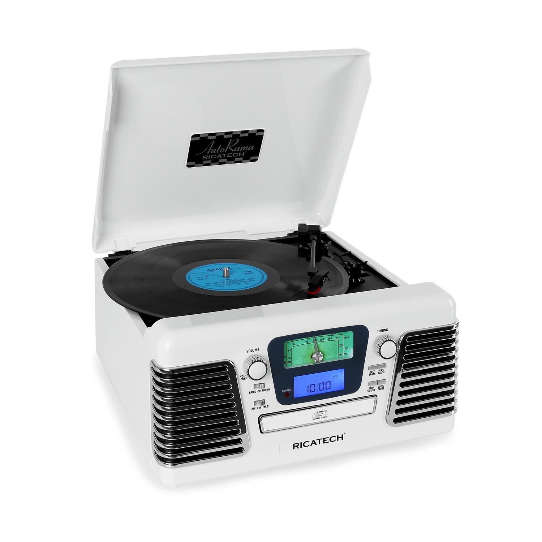Ricatech RMC100 estéreo con tocadiscos CD, USB, SD, color blanco ...
