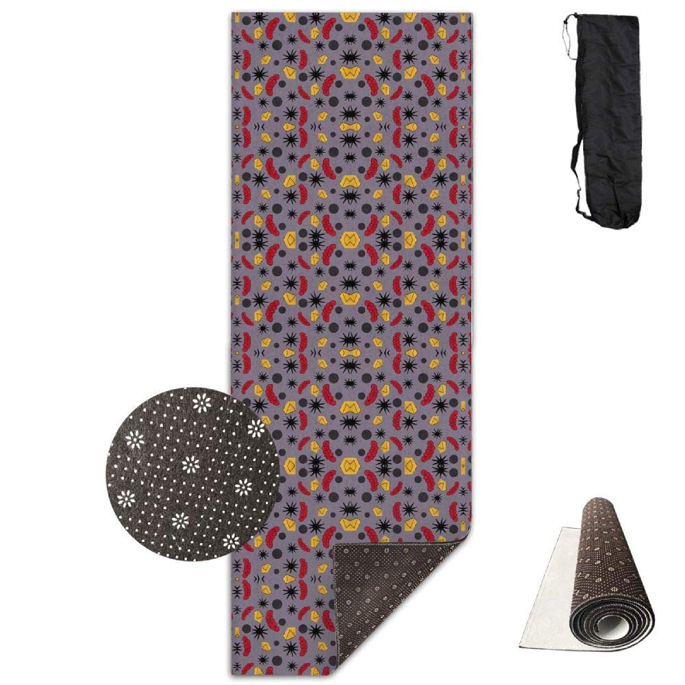 70Inch Long 28Inch Wide Comfort Velvet Yoga Mat, Cut Out Grey Matter Mirror Small Giftwrap (4415) Mat Carrying Strap & Bag