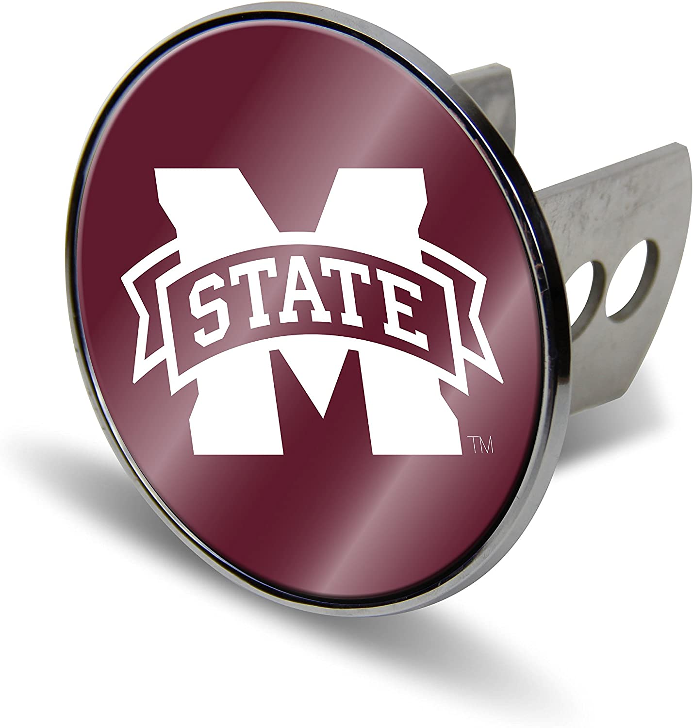 Large Silver NCAA Mississippi Old Miss Rebels Laser Cut Metal Hitch Cover