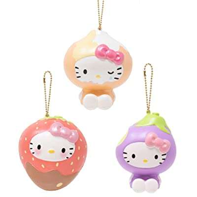 Sanrio Hello Kitty Fruit and Veggie Slow Rising Squishy Toy (Choco Dip Strawberry, Onion, Eggplant, 4 Inch, 3 Piece Set) [Birthday Gifts, Party Favors, Stress Relief Toys for Kids, Adults]: Toys & Games