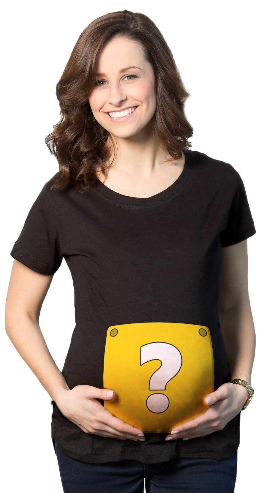 Maternity Question Mark Block T Shirt Nerdy Video Game Pregnancy Tee for Ladies (Black) L