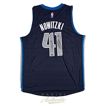 bc28f3b6c Dirk Nowitzki Autographed Navy Blue Dallas Mavericks Swingman Jersey with  Swish41 quot  Inscription ~Limited Edition