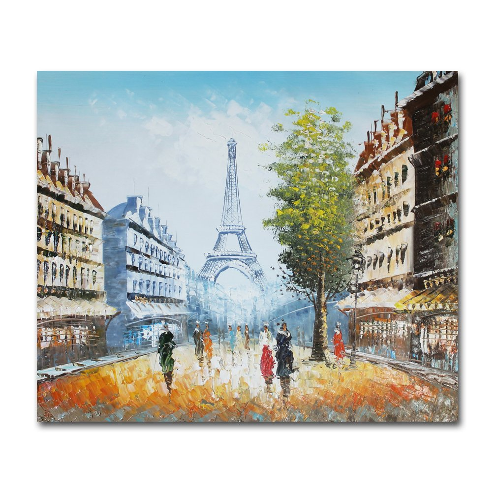 Muzagroo Art Oil Paintings Hand Painted on Canvas Paris Eiffel Tower Wall Pictures Stretched Coffee