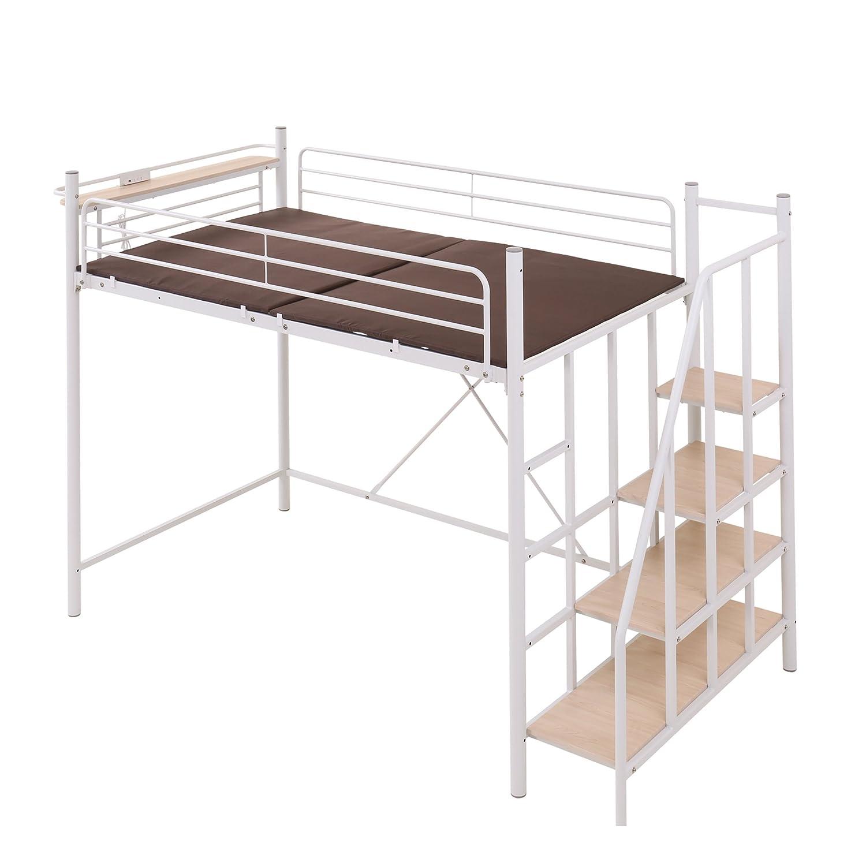 モダンデコ ロフトベッド 2段ベッド 階段付き Linie