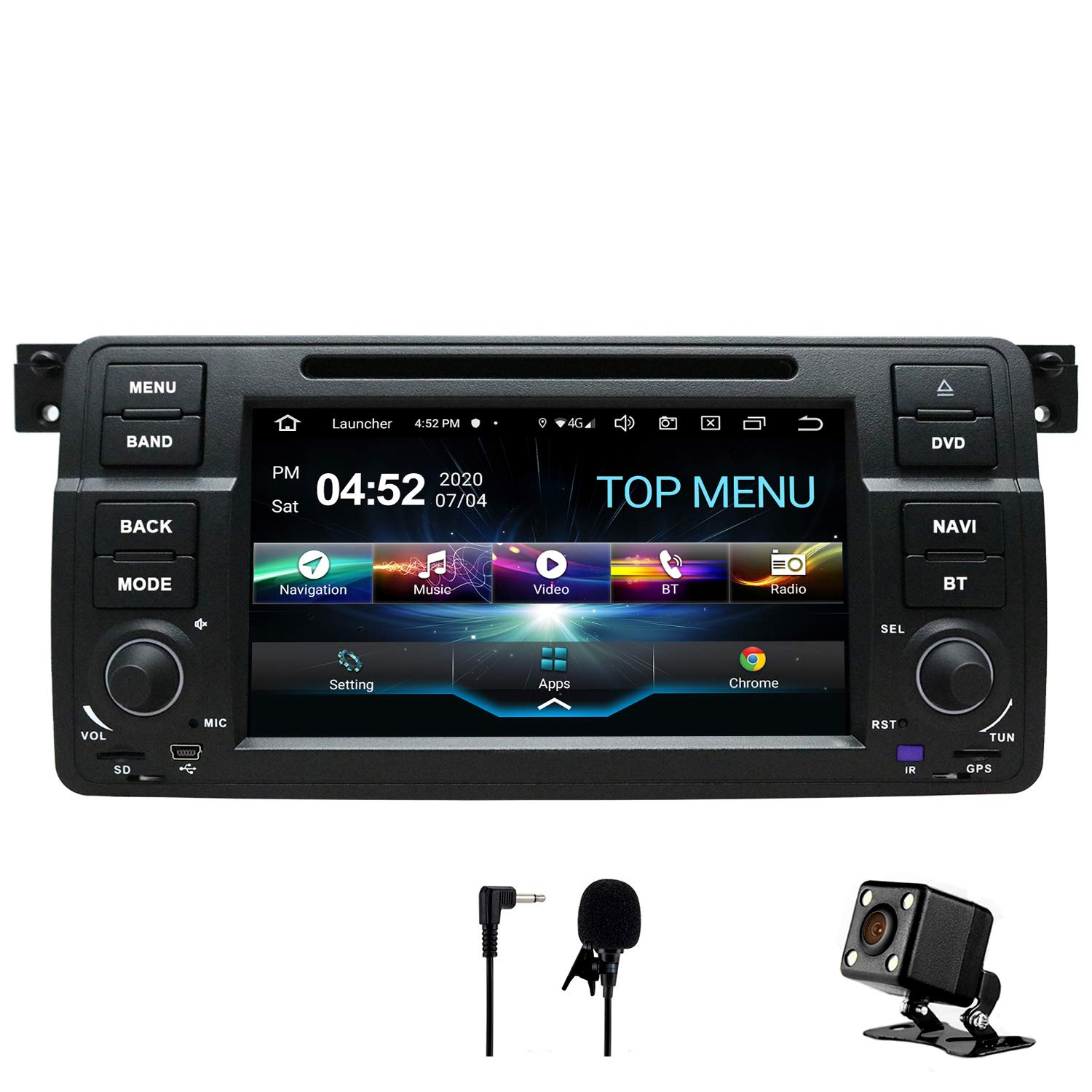 SWTNVIN Android 10.0 Car Audio Stereo Headunit Fits for BMW E46 DVD Player Radio 7 Inch HD Touch Screen GPS Navigation with Bluetooth WIFI Steering Wheel Control 2GB+32GB
