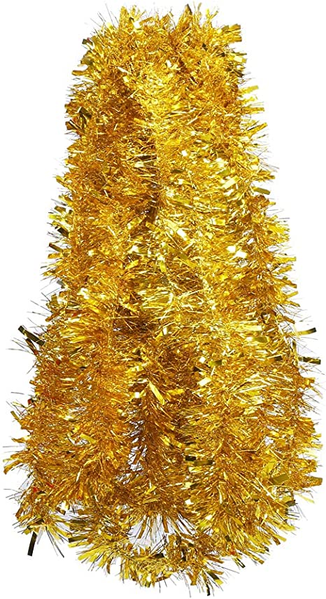 Metallic Streamer Xmas Tree Decor Hanging Holiday Tinsel Valentines Happy Birthday New Years Wedding Party Proposal Indoor Outdoor Ornament Gold Color GEX 2020 Christmas Tinsel Garland 33 Ft