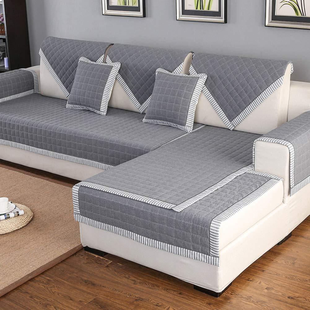 Living Room Sofa slipcovers, Four Seasons Non-Slip Fabric Sofa Cushioning, All Inclusive Versatile Simple Bay Window Cushion Full Cover-A 90x160cm(35x63inch)